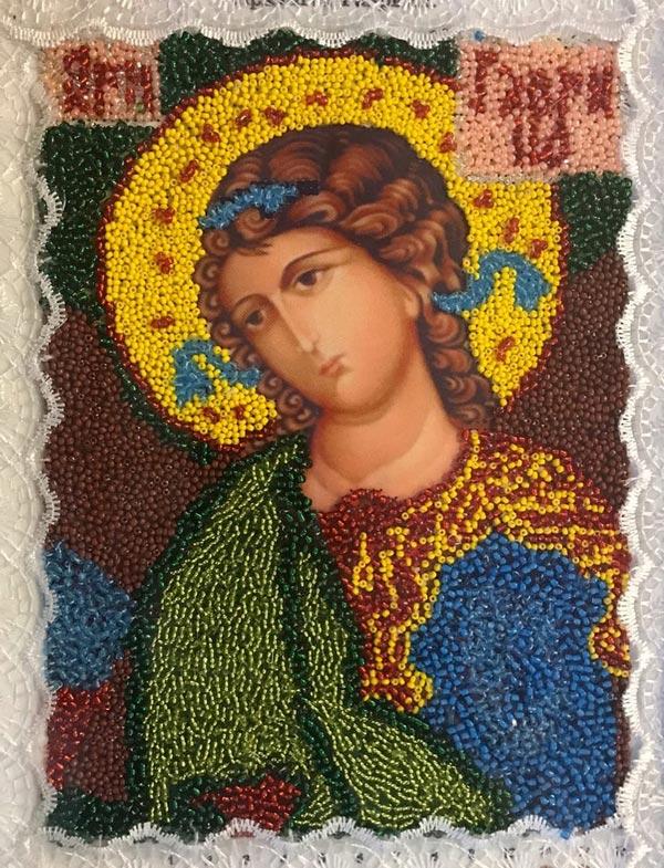 Икона Архангел Гавриил. Бисеровышивание
